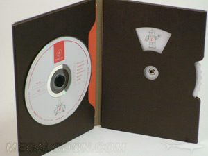 unique cd packaging die cut window spinner